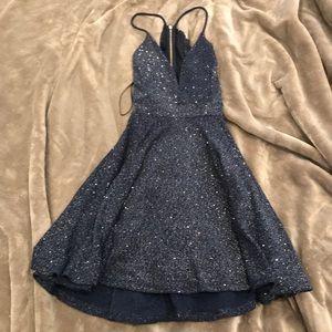 Sparkle skater dress with lace back navy blue